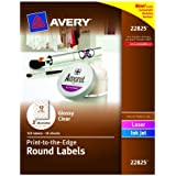 Avery Print - To - The Edge Round Labels, Glossy Clear, 2-Inch Diameter, 120 Labels (22825)