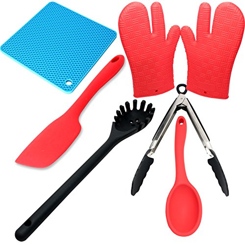 Silicone Cookware Utensil Set - Silicone Kitchen Spatula, Silicone Pot Holder, Silicone Pot Holder Gloves, Silicone Locking Tongs, Silicone Spoon & Silicone Pasta Spoon
