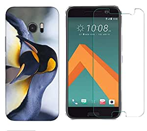 Snoogg Penguins Combo Designer Protective Back & Shatter Proof Tempered Glass For HTC DESIRE 10 LIFESTYLE