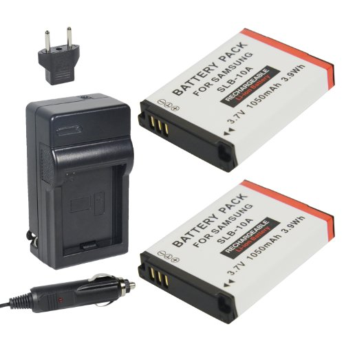 Newmowa Slb-10A Battery (2-Pack) And Charger Kit For Samsung Slb-10A, Jvc Bn-Vh105 And Samsung Es50, Es55, Es60, Ex2F, Hmx-U10, Hmx-U20, Hz10W, Hz15W, It100, L100, L110, L200, L210, L310W, M100, M110, M310W, Nv9, P800, P1000, Pl50, Pl51, Pl55, Pl60, Pl65,