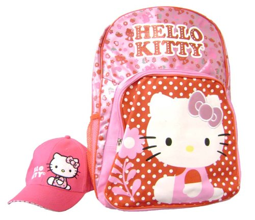 Hello Kitty Garden Large School Backpack with Baseball Hat Backpack Bundle Gift Set