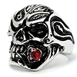 Stainless Steel Casted Skull Ring with Red Cubic Zirconia Size R 1/2