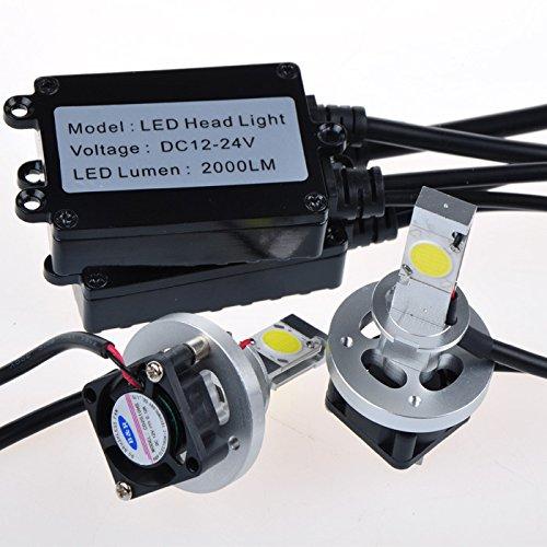 Suparee H1 2000X2Lm Cob Led Headlight Kit Car Fog Lamp Drl Super Bright Leds Headlights Led Conversion Kit White 6000K Dc12V-24V
