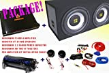 COMPLETE PACKAGE! Audiobank P1400.2 2 Channels Amplifier + Audiotek AT-212WS Speakers + Audiobank AB-Tw210 Tweeters + Pro Installation Kit Cables + Audiobank 2.2 Farad Power Capacitor