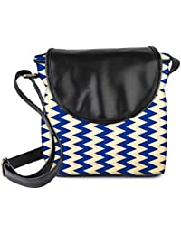 Snoogg Navy Blue Waves 2501 Womens Sling Bag Small Size Tote Bag