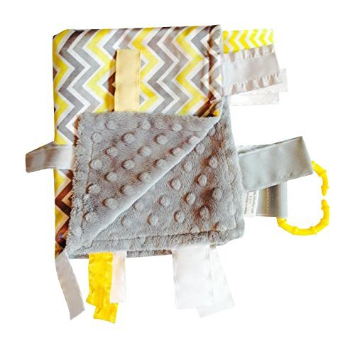 Yellow Chevron Lovey, For entertainment, comfort and sensory Play, Ribbons Sewn Shut Into Tabs
