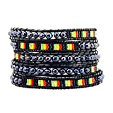 Long Hippie Bohemian Seed Beads Rasta Beaded Wrap Around Leather Bracelet (Black Dyed Freshwater Cultured Pearl)