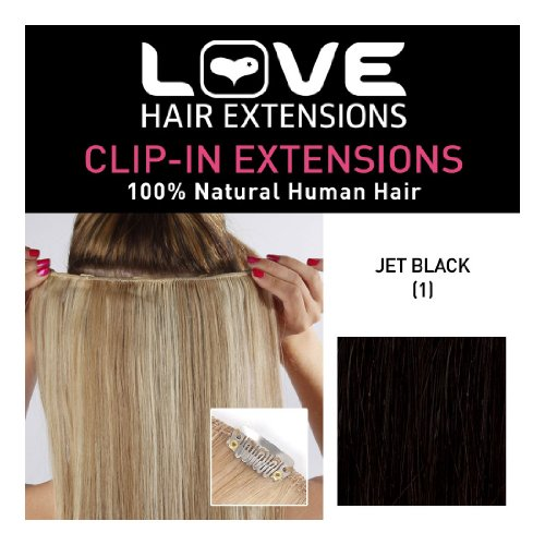 Love Hair Extensions 100% Human Hair Clip in Extensions Colour 1 Jet Black 16 - Inch