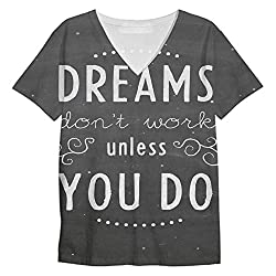 Snoogg Dreams Do Not Work Until You Do Mens Casual V Neck All Over Printed T Shirts Tees