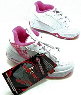 Heelys Girls 7426 Flurry White & Pink Double Wheel Trainers