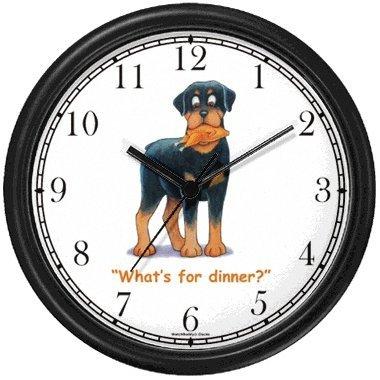 Rottweiler Dog Cartoon or Comic - JP Animal Wall Clock by WatchBuddy Timepieces Hunter Green Frame
