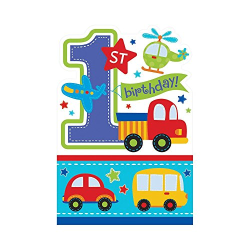 Amscan 1st Birthday Boy Invitations All Aboard 8 Count