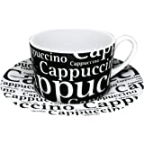 Konitzs Writing On Black Cappuccino Cups and Saucers, 7-Ounce, Black/White, Set of 4