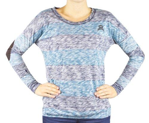Fresh Made, Damen Langarmshirt Shirt mit breiten Streifen, Ellenbogenflicken, Farbe Petrol Blau, Gr. L