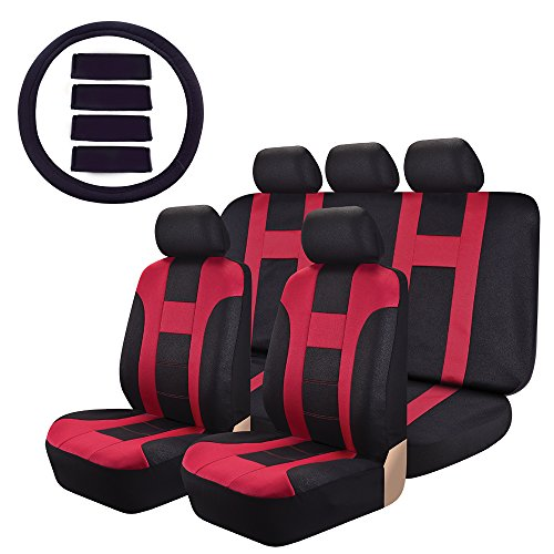 Car Seat Covers OMISS Sports Racing leather-look Universal Fit Full Set Car Covers Fit Most Car, Truck, Suv, or Van (Red) (Leather Racing Seat Covers compare prices)