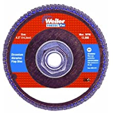 Weiler Vortec Pro 7/8&#034; Arbor, 4-1/2&#034; Diameter, 24 Grit, Zirconium, Phenolic Backing, Angled Abrasive Flap Disc
