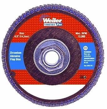 "Weiler Vortec Pro 7/8"" Arbor, 5"" Diameter, 40 Grit, Zirconium, Phenolic Backing, Angled Abrasive Flap Disc"