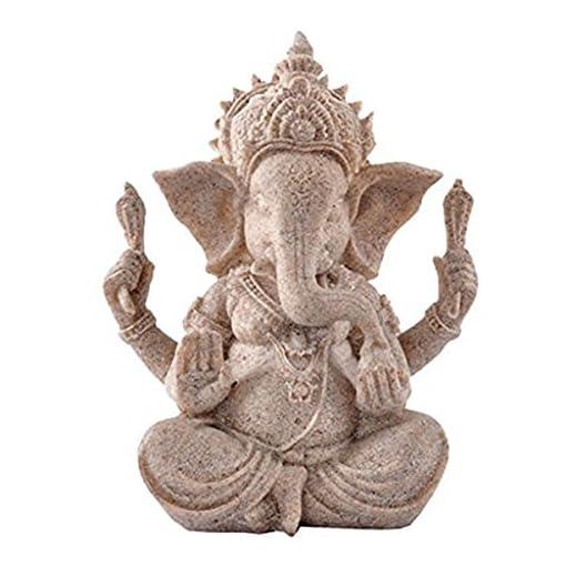 PIXNOR-Sandstein-Ganesha-Buddha-Elefanten-Statue-Skulptur-handgefertigte-Figur