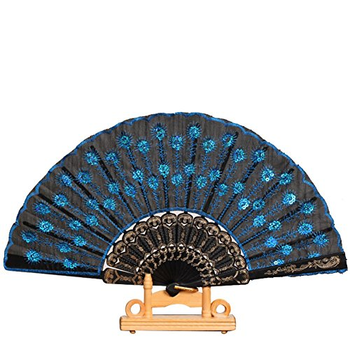 Olibay Embroidered Flower Pattern HandHeld Fan Cloth Folding Fan 10 Color