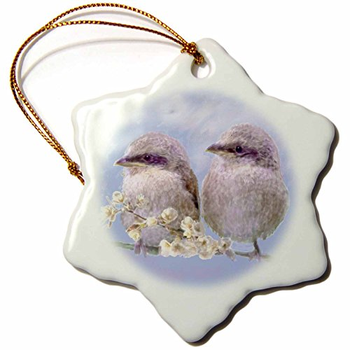 3dRose orn_23825_1 Fledgling Baby Sparrows Learning to Fly Digital Oil Painting Snowflake Ornament, Porcelain, 3-Inch - 1