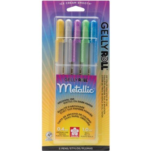 sakura-gelly-roll-metallizzato-mezzo-punto-penne-5-oro-argento-blu-smeraldo-e-viola-altri-multicolor