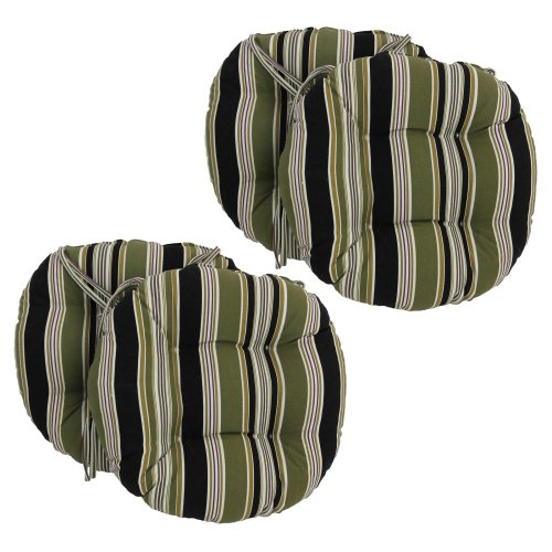 Blazing Needles 16 X 16 Round Outdoor Dining Chair Cushions With Ties - Set Of 4 front-482059