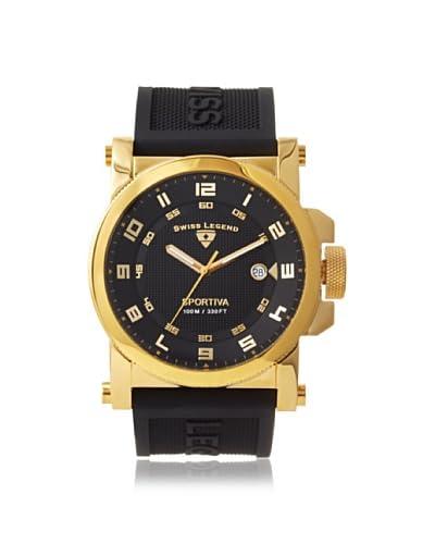 Swiss Legend Men's 40030-YG-01 Sportiva Black Textured Silicone Watch