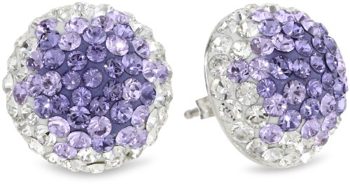 Carnevale Sterling Silver Round Stud Earrings with Swarovski Elements
