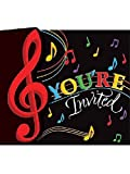 Dancing Music Notes Invitation (8) Invites Birthday Dance Party Supply