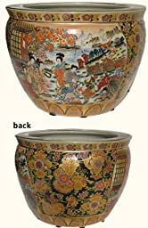 Porcelain fish bowl - Imported from China and is painted in a Traditional Japanese Satsuma style pattern planter -16\