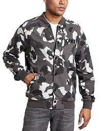 Crooks & Castles Men\'s CRKS Stadium Knit Jacket, Grey Camo, Medium