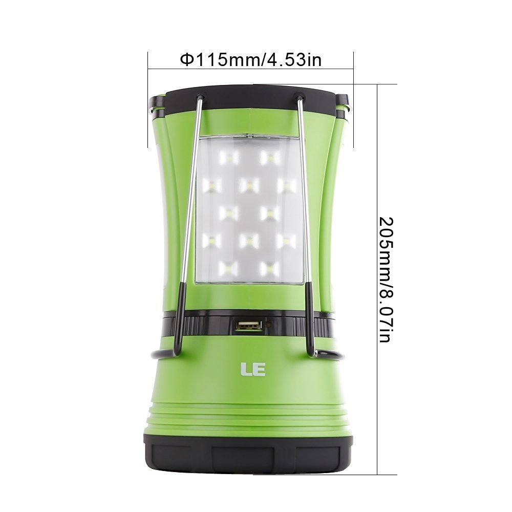 LE 600lm Rechargeable LED Camping Lantern Detachable Portable Flashlight Torch Water Resistant Tent Light with USB Cable Car Charger for Camping Hiking Outdoor Emergency