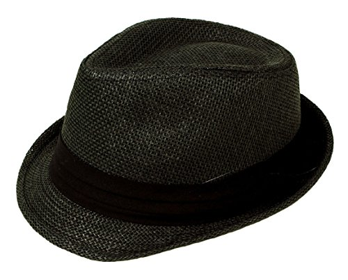 Classic Unisex Straw Fedora Hats for Kids Short Brims Black Band
