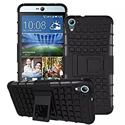 MACC Flip Kick Stand Spider Hard Dual Rugged Armor Hybrid Bumper Back Defender Series Dual Layer Hybrid TPU + PC Kickstand Case Cover for HTC Desire 826 - Black