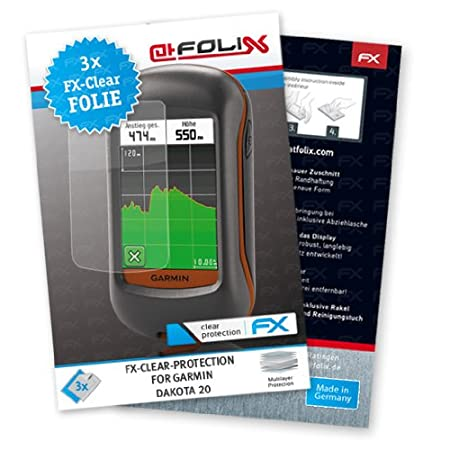 atFoliX FX-Clear Invisible screen protector for Garmin Dakota 20 / Dakota20 - Ultra clear screen protection! Highest Quality - Made in Germany!