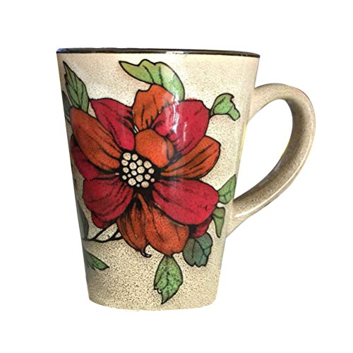 12 oz Ceramic Mug Coffee Cup Tea Milk Glass with Flower Painted (My Jo Coffee Maker compare prices)