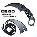 CS:GO Hawkbill Full Tang Fixed Blade Tactical Neck Knife w/ ABS Sheath & Cord (Limited Edition)