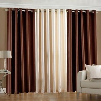 Pindia 3 Pc Combo Faux Silk Eyelet Door Window Curtain