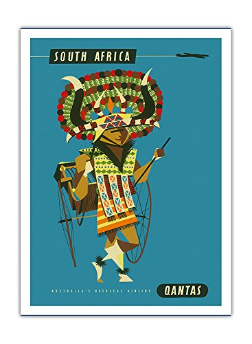 afrique-du-sud-danseuse-avec-costume-de-native-africaine-qantas-empire-airways-qea-compagnie-aerienn