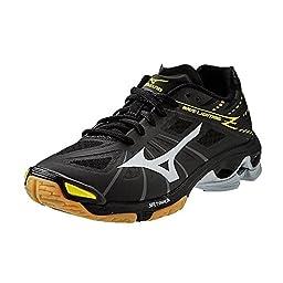 Mizuno Men\'s Wave Lightning Z BK-SL Volleyball Shoe, Black/Silver, 7 D US
