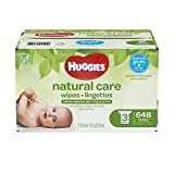 HUGGIES Natural Care Unscented Baby Wipes, Sensitive, Water-Based, 3 Refill Packs, 648 Count Total