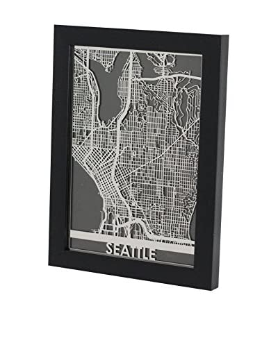Cut Maps Framed Stainless Steel Seattle Map