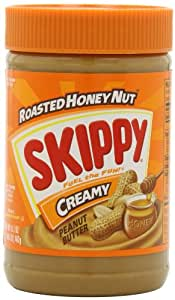 Skippy Peanut Butter, Roasted Honey Nut Creamy, 16.3-Ounce Jars (Pack of 6)