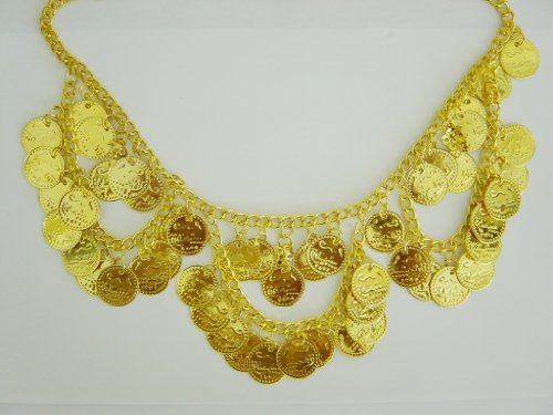 Gold Metal Necklace with Loops of Coins