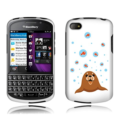 Fincibo (Tm) Blackberry Q10 Protector Cover Case Snap On Hard Plastic - Cute Baby Seal, Front And Back
