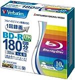 三菱化学メディア Verbatim BD-R LTH TYPE (ハードコート仕様) 1回録画用 25GB 1-4倍速 5mmケース 10枚パック ワイド印刷対応 ホワイトレーベル VLR130YP10V1