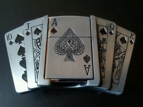 ACE OF SPADES 2 IN 1 METAL BELT BUCKLE WITH BUILT IN PETROL FLIP LIGHTER