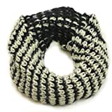 #1  White and Black Snood for Women & Men - Lovarzi Knitted Chain Cowl & Snoods Scarves Unisex - Circle Infinity Loop Scarf