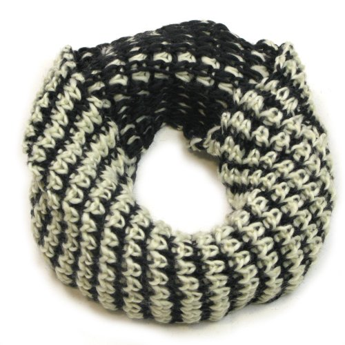 White and Black Snood for Women & Men - Lovarzi Knitted Chain Cowl & Snoods Scarves Unisex - Circle Infinity Loop Scarf picture