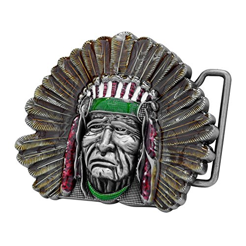 Buckle Rage Adult Unisex Native American Chief Indian Feather Belt Buckle SIlver